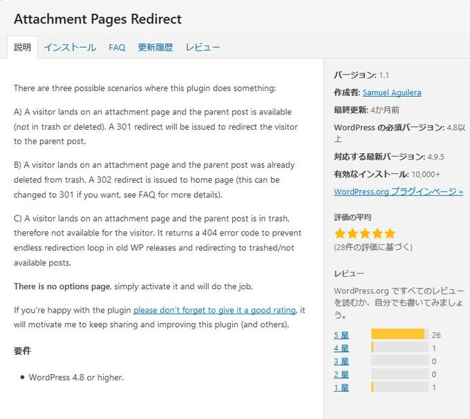 それがこの「Attachment Pages Redirect」というプラグイン。
